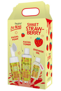 Set facial foam facial toner shower oil strawberry pack